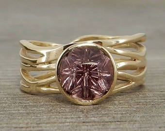 Garnet Ring with Recycled 14k Yellow Gold, Designer Cut Color Change Gemstone by Larry Woods, with Peekaboo Bezel, Ready to ship, size 6-6.5