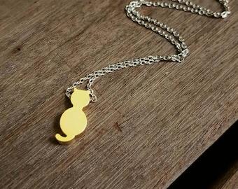 I Saw a Cat necklace || brass, silver & Swarovski