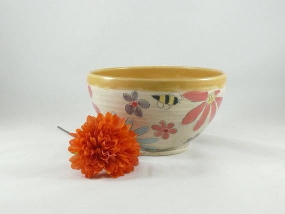 Ceramic Soup Bowl, Pottery Salad Bowl, Kitchen Dinnerware, Key Bowl,  Save the Bees, Handmade Bowl, Cereal Bowl, Serving Bowl 803
