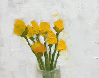 yellow flower painting yellow and white acrylic painting on wood panel yellow wall art