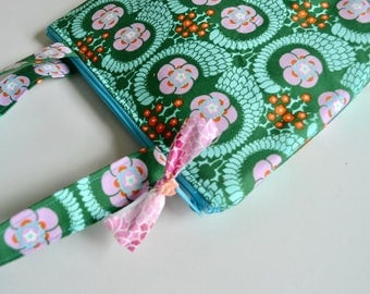 Shoulder Tote - Zipper Purse - Girls Purse - Kids Bag - Modern Floral bag - Green Blue Bag - Girls Church Bag - Gift for Teen Girl