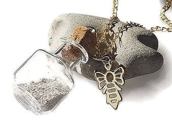 Glass Bottle Keepsake grieving cremation urn with gold Angel Necklace, urn jewelry, loved one necklace, pet mourning necklace, ash jewelry