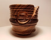 Handcrafted Turned Exotic Wood Yarn Bowl