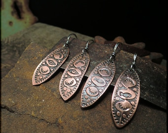 E1513 Copper Stamped Marquise earrings