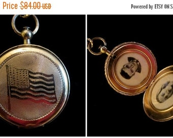 ON SALE Land of the Free - Vintage Patriotic Coro Pocket Watch Style Locket Necklace