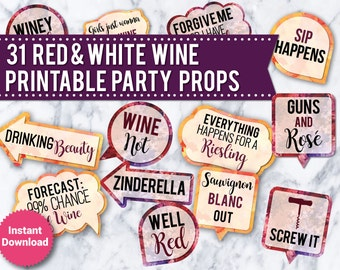 31 Red and White Wine Photo Booth PRINTABLE Props, Printable Wedding props, photo booth signs, speech bubbles