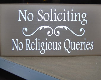 No Soliciting No Religious Queries With Swirl Design Wood Vinyl Sign Home Business Office Door Fence Garden Yard Hanger Do Not Disturb
