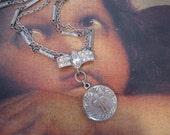 Devotion, vintage locket, cross, faith, religious, repurposed, upcycled, one of a kind, rhinestone, cross locket, paste, silver locket