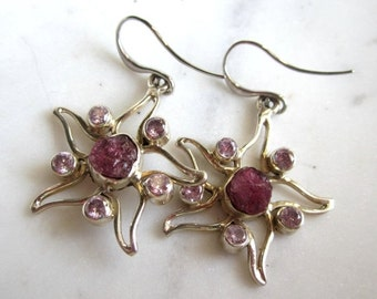 BlackFridaySale Raw Pink Sapphire and Kunsite Stering Silver Starfish Earrings, Gemstone Starfish Earrings, Under 50, Gifts for Her,