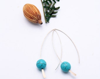 Turquoise Simple 925 Silver Earrings