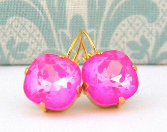 Swarovski Ultra Pink  Cushion Cut Gold Prong Leverback Earrings