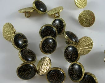 Vintage Assorted Decorative Gold Tone Buttons, Decorative Buttons with Shank
