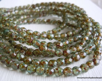 4mm Czech Beads - Aqua Picasso Firepolished Faceted 50 pcs (G - 242)