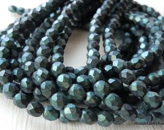 4mm Czech Beads - Metallic Suede Aqua Teal Firepolished Faceted 50 pcs