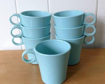 7 vintage aqua melmac cups Precision Ware