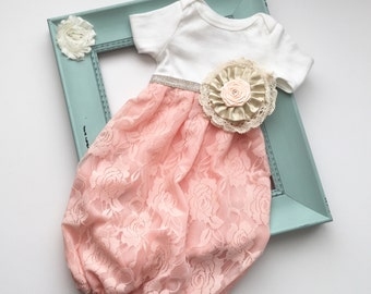 Shabby chic baby GOWN in lace peach and gold.... limited edition-- new baby