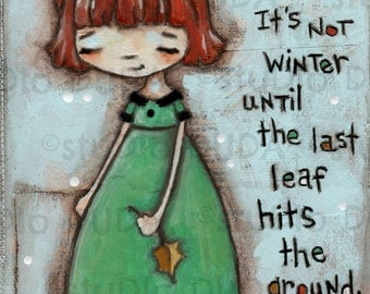 Original Folk Mixed Media Painting -The Last Leaf - Free Shipping