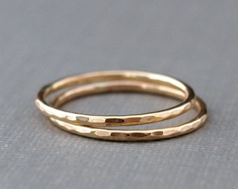 Gold Ring Set , Hammered Gold Ring Bands , Two Gold Rings for Women