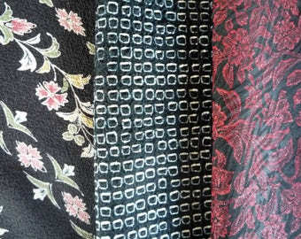 Black Shibori Floral Black Red and Black, Set of 3 Vintage Silk Japanese Kimono Fabric Scrap, Asian Recycled Textile