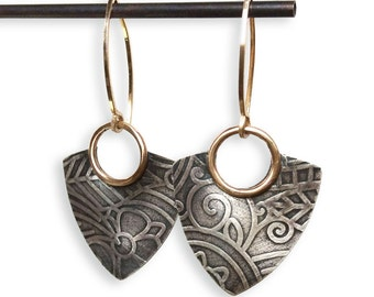 Della Industrial Earrings - Silver and Gold Fill Dangle Triangle Earrings Handmade by Queens Metal
