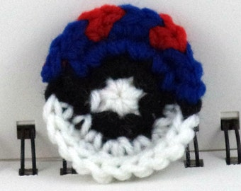 Crocheted Monster-Catching Ball Patch - Blue