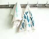 Dishtowel Set- Turquoise Cactus Print
