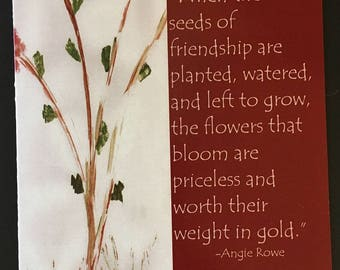 Seeds Of Frienship Card-Verse On Front-Blank Inside