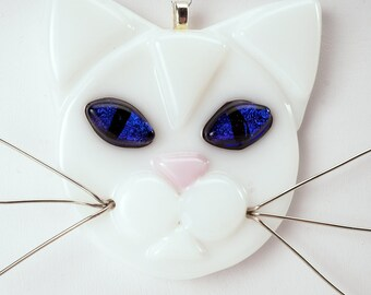 White cat with Blue eyes, cat glass ornament, cat lover, white cat