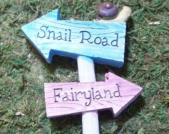 Snail Road and Fairyland Miniature sign, fairy gnome tararium gardens