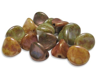 Picasso Beads 10x9mm Gemtone Luster Picasso Pinched 3 Sided Oval Czech Beads 15pcs (3972) Czech Glass Beads