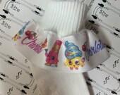 PERSONALIZED MTM Shopkins Cupcake Lipstick Fruit Ruffle Socks for Infants,  Toddlers, Girls