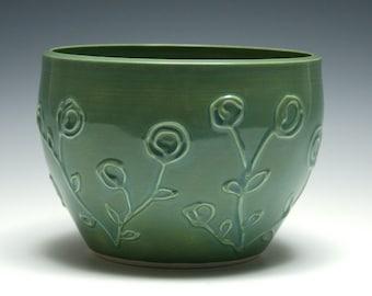 Green Ceramic Bowl, Swirl Flower Design, Large Bowl, Home Decor, Handmade Ceramics, Slip Trailed Pottery
