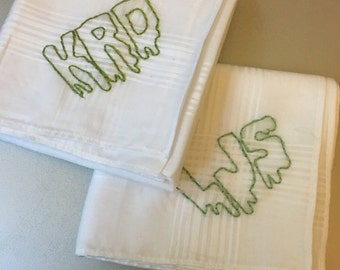 Custom Snot Monogram - hand drawn and embroidered on a vintage handkerchief