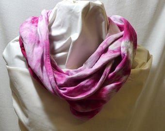 Hand Dyed Hemp Knit Infinity Scarf - Bright Colors that will Express Your Creativity, Soft Knit Fabric, Bright Fuchsia and Gray