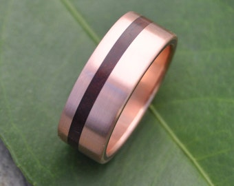 Size 9, 8mm READY TO SHIP Brushed Rose Gold Equinox Nacascolo Wood Ring - ecofriendly recycled rose gold wood wedding band, pink gold
