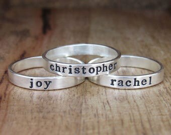 Wide Stackable Ring, Mothers Ring, Stacking Name Ring, Personalized Jewelry for Mom