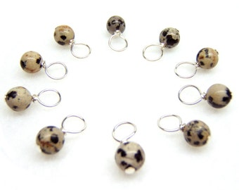 Snag-Free Stitch Markers for Knitting or Crochet, Dalmation Jasper Gemstone, Choose Your Size, Set of 10, Customizable
