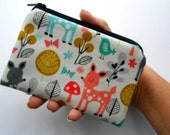 Zipper Coin Purse Zipper Pouch Little Padded Coin Purse ECO Friendly NEW Acorn Forest