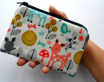 Zipper Pouch Little Padded Coin Purse ECO Friendly NEW Acorn Forest
