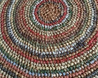 Amish Knot Rag Rug a.k.a. Toothbrush Rug Homespun fabrics Rustic Country Handmade