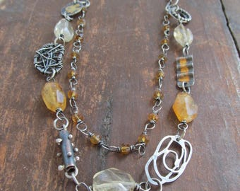 Silver Multi Strand Necklace wire wrapped Yellow Gemstone Golden Citrine Mixed Metal Jewelry Layered Charm Necklace Gold Keum Boo Necklace