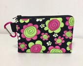 Small Black Coin Purse, Carabiner Coin Purse, Clip On Zipper Pouch, Pink and Lime Flowers