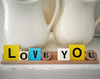 """Vintage Game Letters Saying 8 1/4"""" Love You Display Sign"""