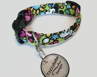 Disney Mickey Mouse Inspired by Vera Bradley Mousing Around Green/Yellow Dog Collar XS S M L