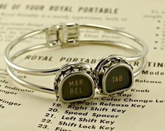 Tombstone Shape Vintage Typewriter Key Cuff Bracelet  Margin Release and Tab
