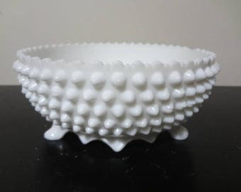 Large Fenton Hobnail Milk Glass Footed Bowl