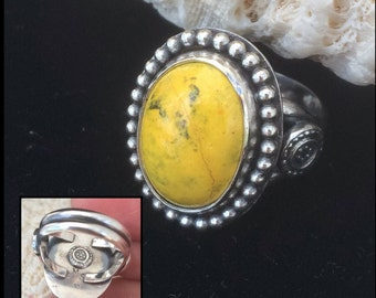 Yellow Stone Ring, Size 7 Bumble Bee Jasper Ring, Artisan Handcrafted Sterling Silver Silversmith Bohemian Cocktail Ring Boho Chic Flowers