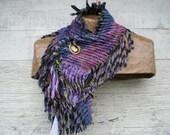 Scarf Art Scarf Eco Chenille Soft Chenille Purple Green Black SavageChenille