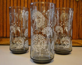 Vintage Libby Dandelion Puffs Tall Glasses (Set of 3) - Royal Hill Vintage