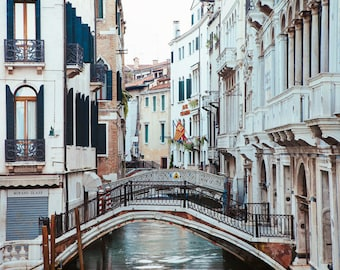 "Venice Canal Photograph, ""Venetian Bridges"" Italy Wall Art Print, Venice Print, Travel Photography, Italian Wall Decor"